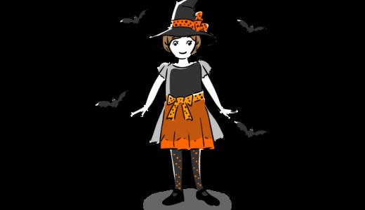 ハロウィンの少女とこうもりフリーイラスト