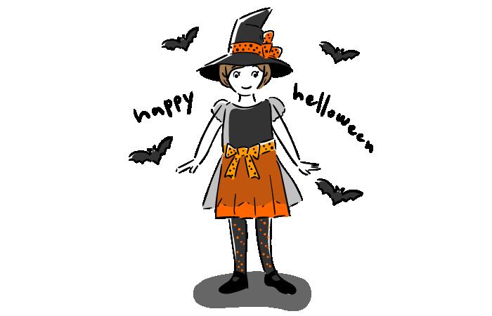 ハロウィンの少女とこうもりのフリーイラスト