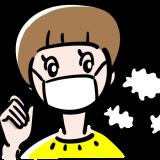 マスクをした女の子の無料イラスト
