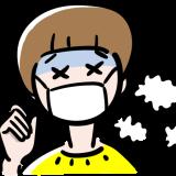熱が出た女の子の無料イラスト