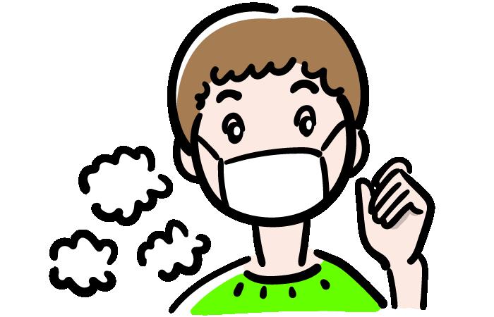 マスクをした男の子の無料イラスト