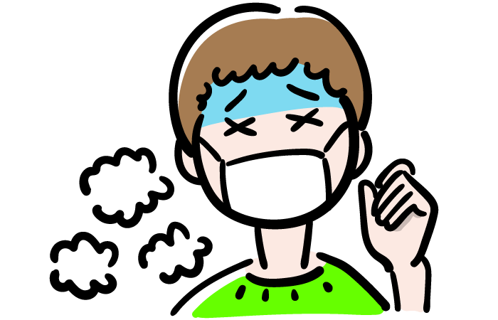 熱が出た男の子の無料イラスト