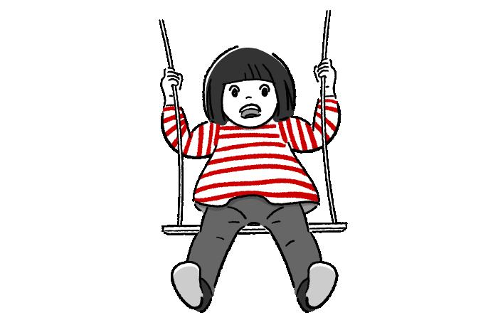 ブランコに乗る子供のフリーイラスト