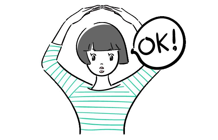 OKのポーズをする女子の無料イラスト素材