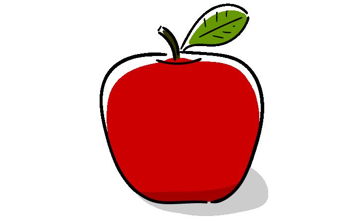 りんごの無料素材イラスト