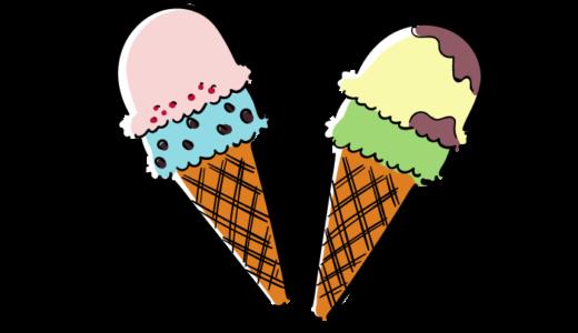 チョコミントとバニラアイスクリームの無料素材イラスト