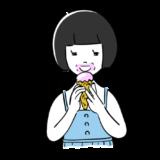 アイスを食べる子供の無料イラスト素材