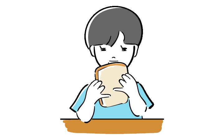 パンを食べる子供の無料イラスト素材 おしゃれでかわいいフリー