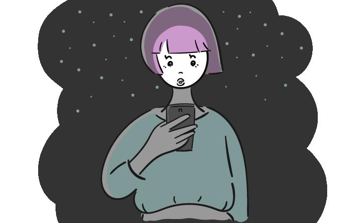 夜に歩きスマホをする女性のフリーイラスト素材
