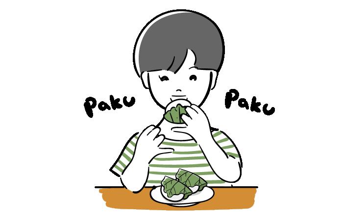 かしわ餅を食べる子供の無料イラスト素材