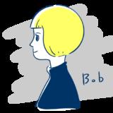 ボブヘアの女性の横顔のフリーイラスト素材