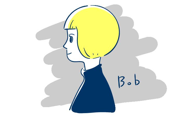 ボブヘアの女性の横顔のフリーイラスト素材 おしゃれでかわいいフリー