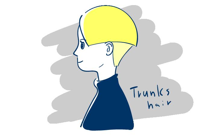 トランクスヘアの横顔のフリーイラスト素材