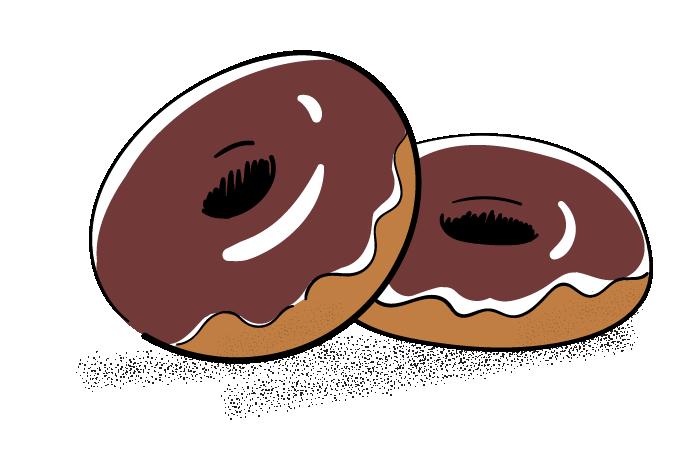 チョコレートドーナッツのフリーイラスト素材 おしゃれでかわいい