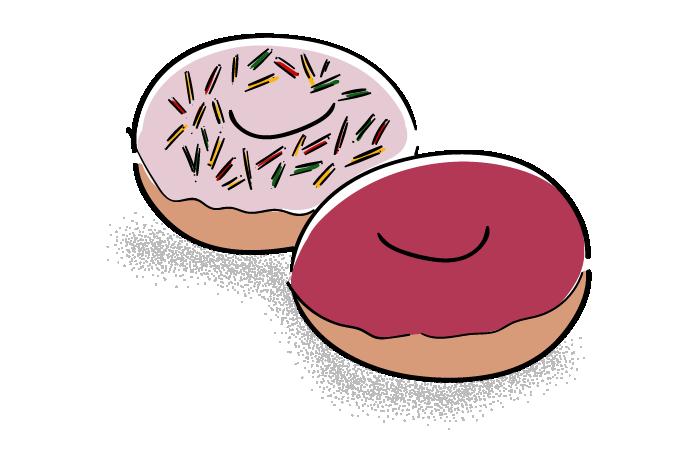 ブルーベリーとストロベリードーナッツのフリーイラスト素材