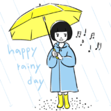傘をさす子供のフリーイラスト素材