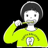 歯磨きをする女の子の無料イラスト素材