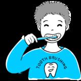 歯磨きをする男の子の無料イラスト素材