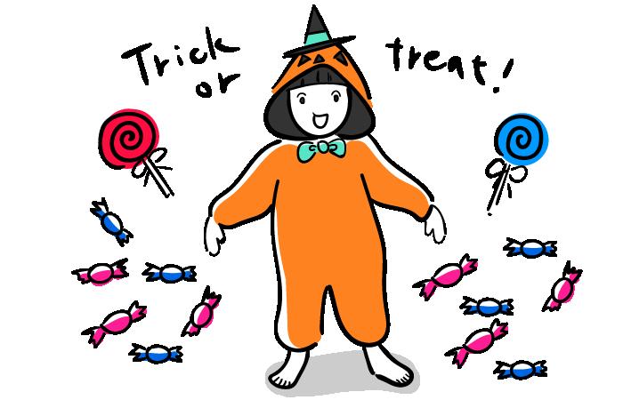 ハロウィンでお菓子をねだる子供のフリーイラスト素材