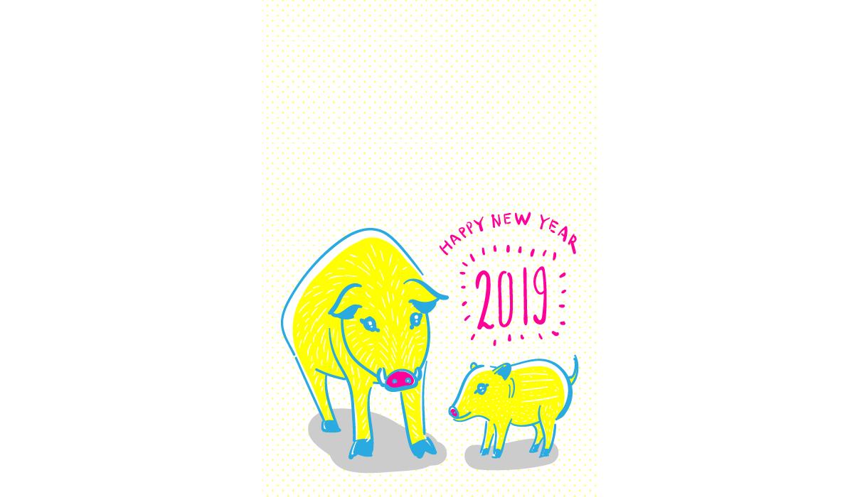 2019年いのしし親子のフリー年賀状素材