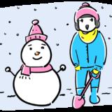 雪だるまと子供のフリーイラスト素材