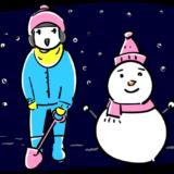夜の雪だるまと子供のフリーイラスト素材