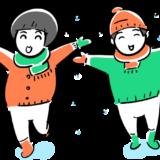 雪で喜ぶ子供のフリーイラスト素材