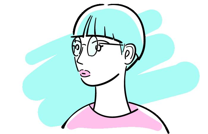 丸眼鏡を掛けた女性のフリーイラスト素材