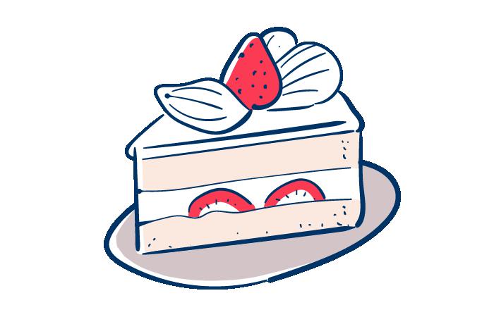いちごのショートケーキのフリーイラスト素材 おしゃれでかわいい
