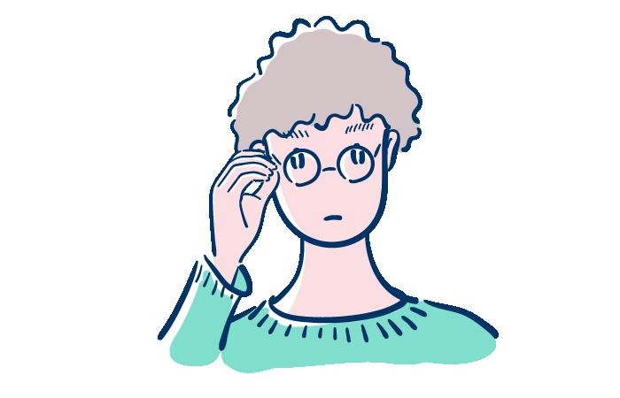 丸眼鏡パーマの男性のフリーイラスト素材