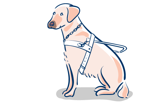 盲導犬のフリーイラスト素材