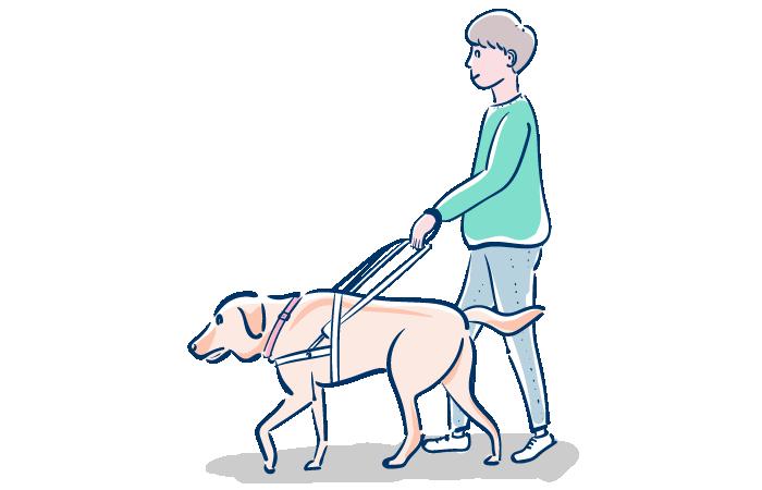 盲導犬を訓練する人のフリーイラスト素材