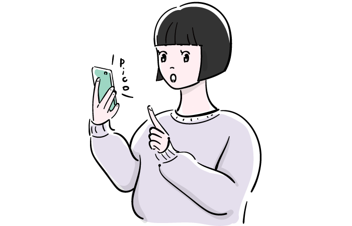 スマホを操作する女性のフリーイラスト素材