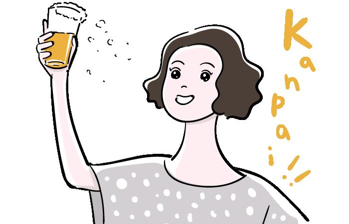 乾杯する女性のフリーイラスト素材 おしゃれでかわいいフリーイラスト