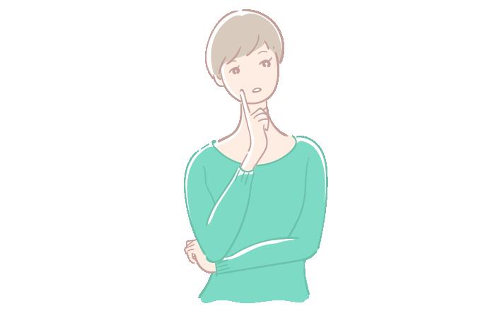 考え事をする女性のフリーイラスト素材