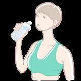 ジムで水を飲む女性の無料イラスト