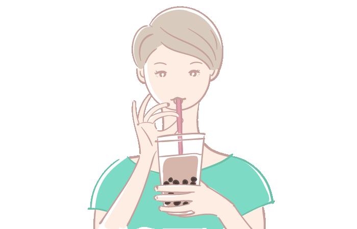 タピオカドリンクを飲む女性の無料イラスト