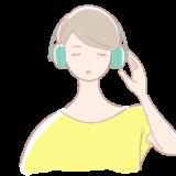 ヘッドフォンをつけた女性の無料イラスト