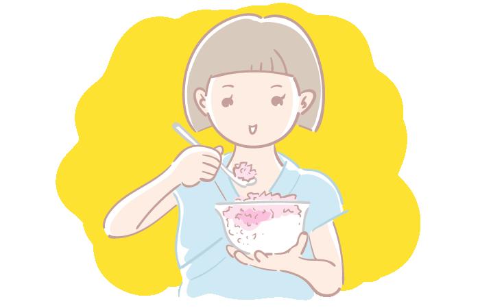 かき氷を食べる女の子の無料イラスト