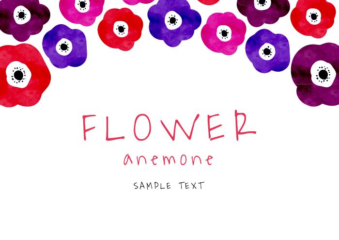 花(アネモネ)の無料背景フレーム素材 その4