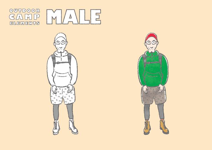 アウトドアファッションの男性のフリーイラスト素材