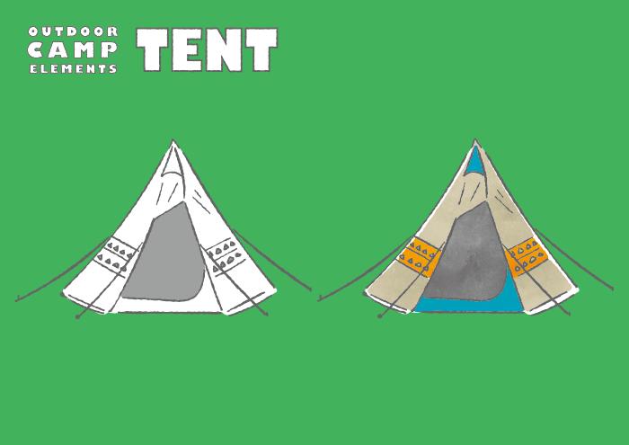 三角テントのフリーイラスト素材