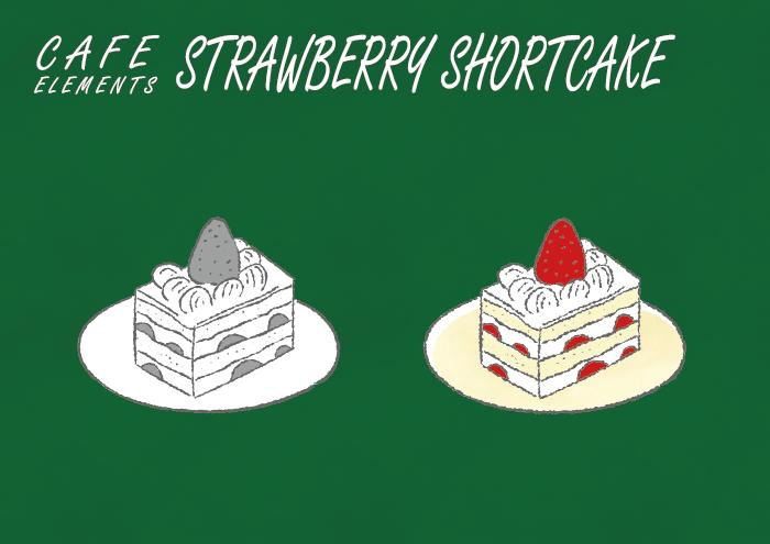 苺のショートケーキのフリーイラスト素材